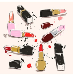Hand drawing with lipstick vector image vector image