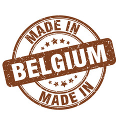 made in belgium brown grunge round stamp vector image vector image
