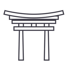 shinto line icon sign on vector image vector image
