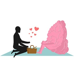 Brain at picnic date in Park Mind and eople Rural vector image vector image