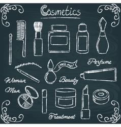 Chalkboard cosmetic bottles set 3 vector image vector image