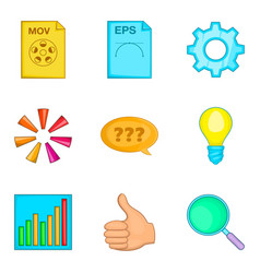 file search icon set cartoon style vector image