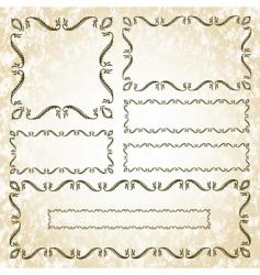 floral leaf frame set vector image