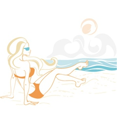 girl and the ocean doodle 2 vector image vector image