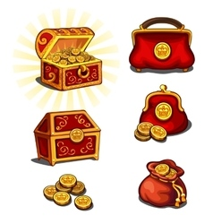 Great wealth set chest purse and gold coins vector image vector image