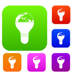 light bulb and planet earth set color collection vector image
