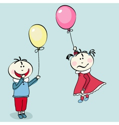 little girl flying with the balloon vector image