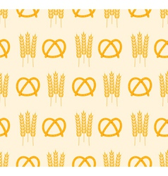 pretzel and wheat pattern vector image