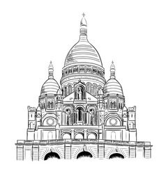 sacre coeur isolated on the white vector image vector image