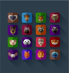 set of animals in the style of origami abst vector image vector image