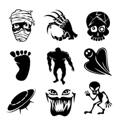 Set of ghost ghouls and alien icons vector image vector image
