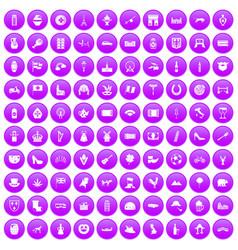100 europe icons set purple vector image