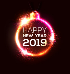 2019 happy new year background neon sign vector image