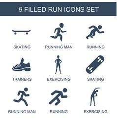 9 run icons vector