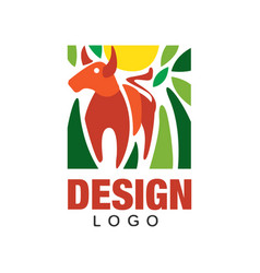 Abstract logo design with red bull sun and green vector
