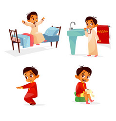 Arab boy daily morning routine activity vector