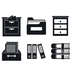 archive file icons set simple style vector image