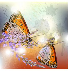 artistic floral background with butterflies vector image