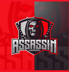 Assassin reaper samurai skull mascot gaming logo e vector