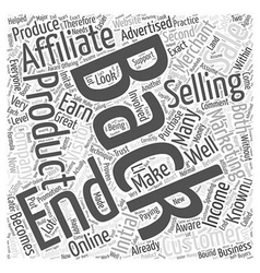 Back End Affilate Marketing Word Cloud Concept vector