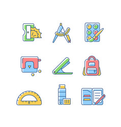 back to school shopping rgb color icons set vector image