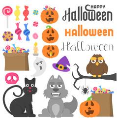 big set with different halloween stuff vector image