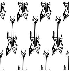 black and white electric guitars seamless pattern vector image
