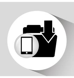 Black smartphone device file folder download vector