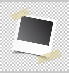 blank retro photo frames with sticker on white vector image