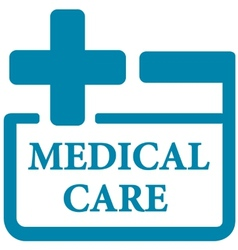 Blue medical care icon vector