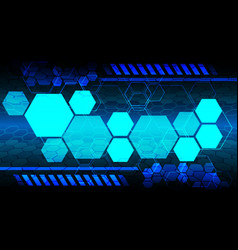Blue technology hexagon monitor display data vector