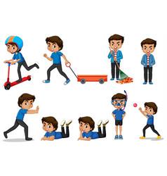 Boy in blue shirt doing different activities vector