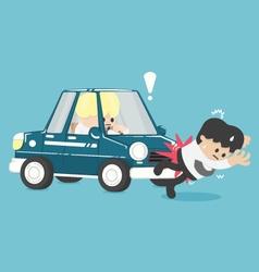 Business man hit a car flat vector