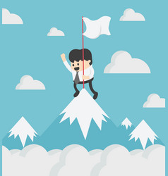 Businessman standing atop a hill top vector