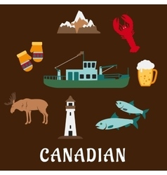 Canadian nature and culture symbols vector