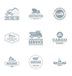 Cargo renovation logo set simple style vector