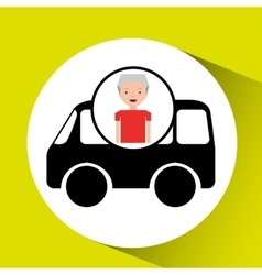 Cartoon man elder icon mini bus graphic vector