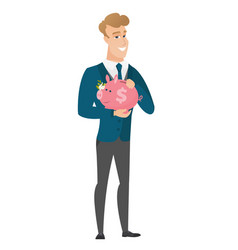 Caucasian groom holding a piggy bank vector