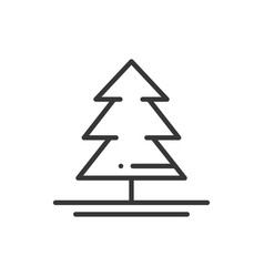 christmas tree thin line icon spruce fir new vector image