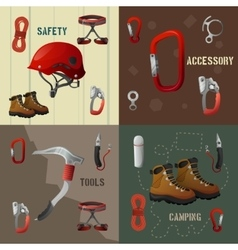 Climbing concept flat 4 icons banner vector image