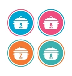 Cooking pan icons Boil five eight minutes vector