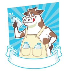 cow holding a bottle of milk vector image