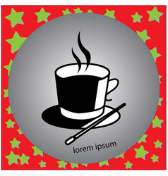 Cup of hot drink and magic hat vector
