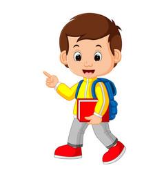 Cute boy go to school vector