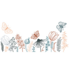Drawing spring template with flowers vector