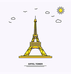 eiffel tower monument poster template world vector image