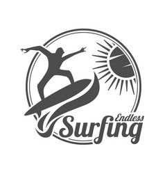 endless surfing summer surfing sports logo vector image