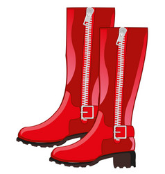 feminine red boots vector image