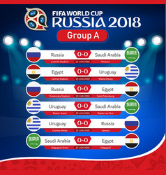 Fifa world cup russia 2018 group a fixture vector