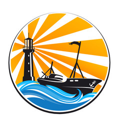 Fishing boat and lighthouse vector